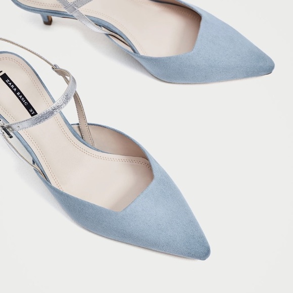 329dd915207 ZARA Contrasting Slingback Heeled Shoes